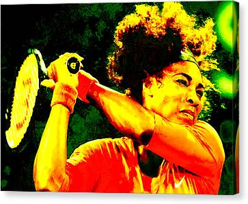 Serena Williams In A Zone Canvas Print by Brian Reaves