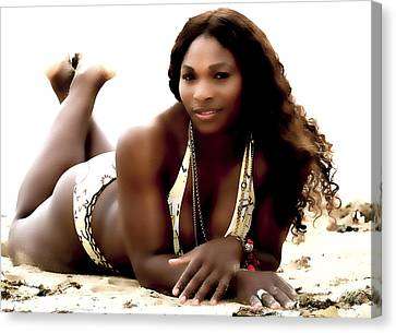 Serena Williams In The Sand Canvas Print by Brian Reaves