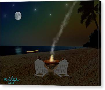 Serenity On The Beach Canvas Print by Michael Rucker