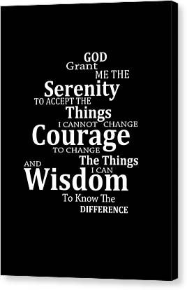 Serenity Prayer 5 - Simple Black And White Canvas Print by Sharon Cummings