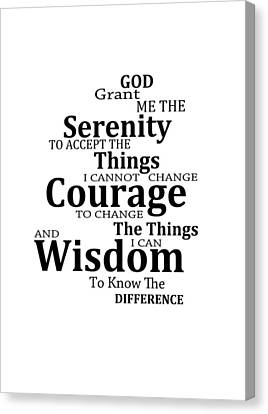Serenity Prayer 6 - Simple Black And White Canvas Print by Sharon Cummings