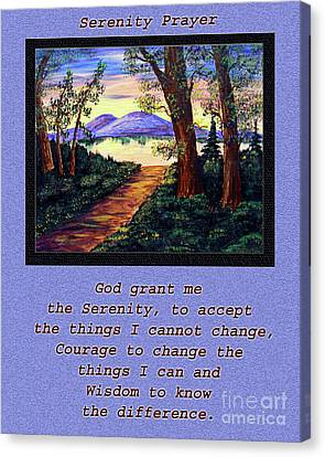 Serenity Prayer And Favorite Fishing Spot Canvas Print by Barbara Griffin