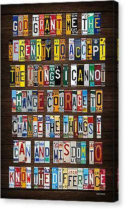 Serenity Prayer Reinhold Niebuhr Recycled Vintage American License Plate Letter Art Canvas Print by Design Turnpike