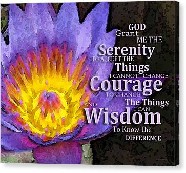 Serenity Prayer With Lotus Flower By Sharon Cummings Canvas Print by Sharon Cummings