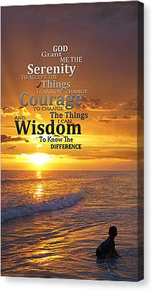 Serenity Prayer With Sunset By Sharon Cummings Canvas Print by Sharon Cummings