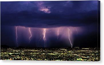 Series Of Cloud-to-ground Lightning Canvas Print by Thomas Wiewandt