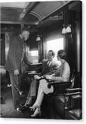 Serving Cocktails On A Train Canvas Print by Underwood Archives
