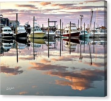 Sesuit Harbor Pastel Reflections Canvas Print by Carl Jacobs