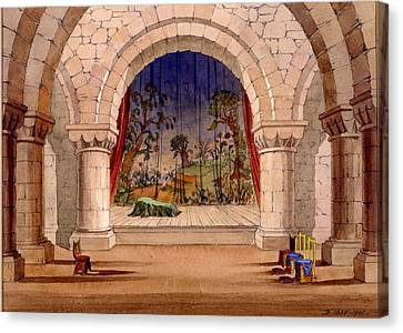 Set Design For Hamlet By William Canvas Print by English School