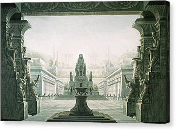 Set Design For Last Scene Of The Magic Flute By Wolfgang Amadeus Mozart 1756-91  Canvas Print by Karl Friedrich Schinkel