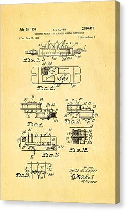 Seth Lover Gibson Humbucker Pickup 2 Patent Art 1959 Canvas Print by Ian Monk