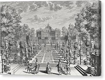 Setting For An Opera In A Garden Canvas Print by Giuseppe Bibiena