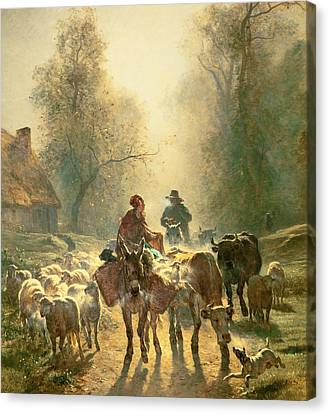 Setting Off For Market Canvas Print by Constant-Emile Troyon