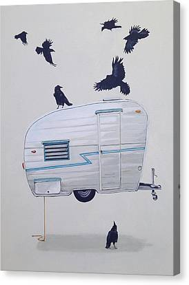 Seven Crows And A Canned Ham Canvas Print by Jeffrey Bess
