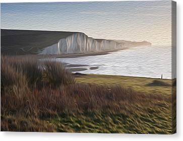 Seven Sisters Sunrise Viewed From Seaford Head Digital Painting Canvas Print by Matthew Gibson