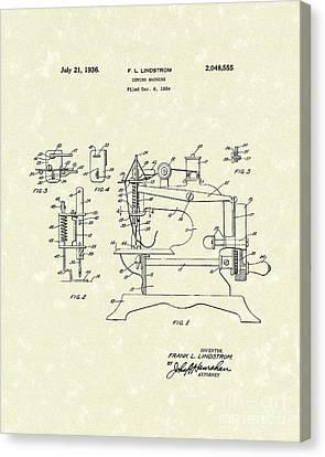 Sewing Machine 1936 Patent Art Canvas Print by Prior Art Design