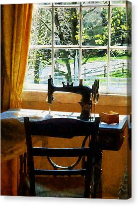 Sewing Machine By Window Canvas Print by Susan Savad