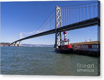Sffd Guardian Fireboat Number 2 At The Bay Bridge On The Embarcadero Dsc01839 Canvas Print by Wingsdomain Art and Photography