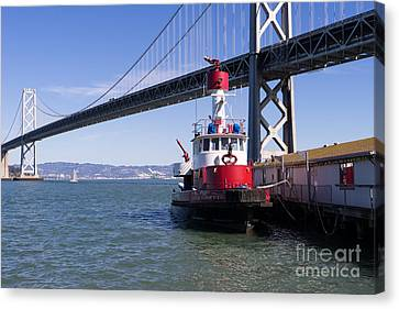 Sffd Guardian Fireboat Number 2 At The Bay Bridge On The Embarcadero Dsc01841 Canvas Print by Wingsdomain Art and Photography
