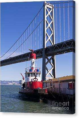 Sffd Guardian Fireboat Number 2 At The Bay Bridge On The Embarcadero Dsc01842 Canvas Print by Wingsdomain Art and Photography