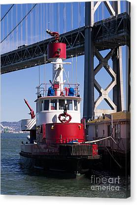 Sffd Guardian Fireboat Number 2 At The Bay Bridge On The Embarcadero Dsc01843 Canvas Print by Wingsdomain Art and Photography