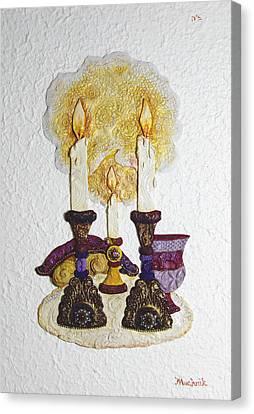 Shabbat Candles - Mosaic Canvas Print by Michoel Muchnik