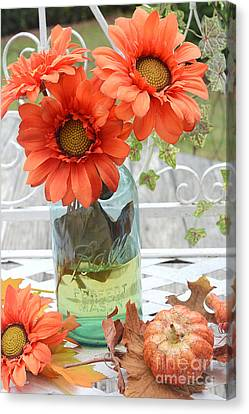 Shabby Chic Autumn Fall Orange Daisy Flowers In Mason Ball Jar - Autumn Fall Flowers Gerber Daisies Canvas Print by Kathy Fornal