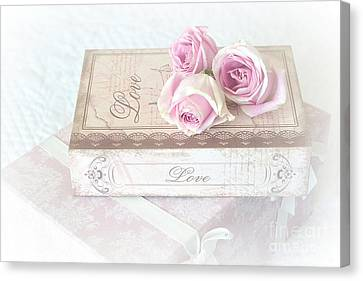 Shabby Chic Cottage Chic Dreamy Pastel Pink Cottage Roses With Romantic Love Pink Books Canvas Print by Kathy Fornal