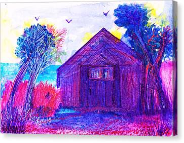 Shack And Trees By The Water Canvas Print by Anne-Elizabeth Whiteway