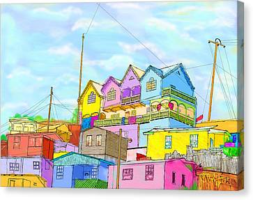 Shacks On The Hill Canvas Print by Gerry Robins