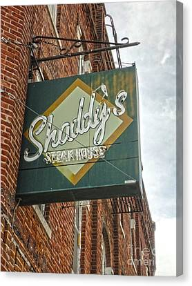 Shaddys Steakhouse Sign Montezuma Iowa Canvas Print by Gregory Dyer