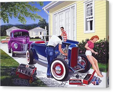 Shade Tree Mechanic Canvas Print by Bruce Kaiser