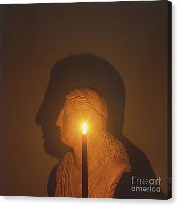 Shadow Of A Bust In Candle Light Canvas Print by Dave King / Dorling Kindersley / Science Museum, London