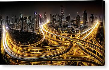 Shanghai At Night Canvas Print by Clemens Geiger