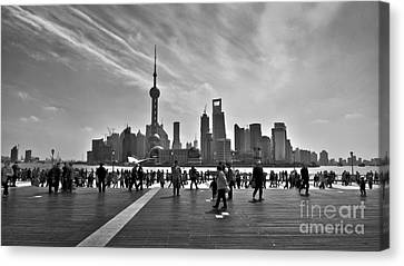 Shanghai Skyline Black And White Canvas Print by Delphimages Photo Creations