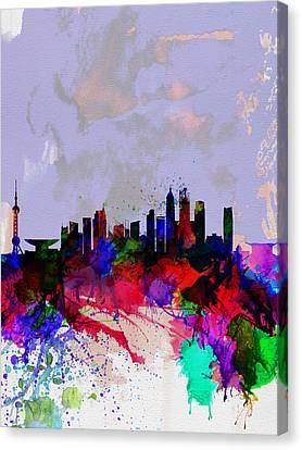 Shanghai Watercolor Skyline Canvas Print by Naxart Studio