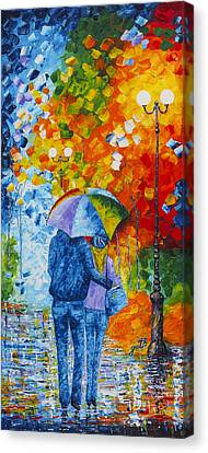 Sharing Love On A Rainy Evening Original Palette Knife Painting Canvas Print by Georgeta Blanaru