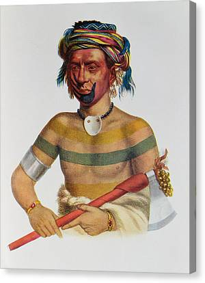 Shau-hau-napo-tinia, An Iowa Chief, 1837, Illustration From The Indian Tribes Of North America Canvas Print by Charles Bird King