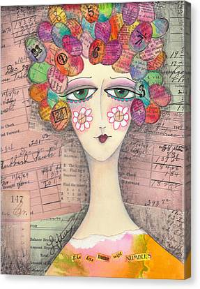 She Has Trouble With Numbers Canvas Print by Joann Loftus