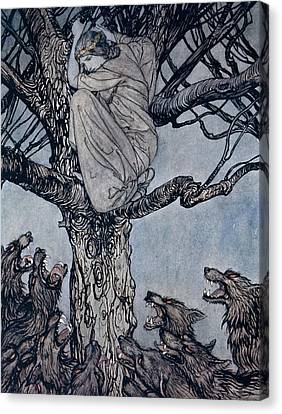 She Looked With Angry Woe At The Straining And Snarling Horde Below Illustration From Irish Fairy  Canvas Print by Arthur Rackham