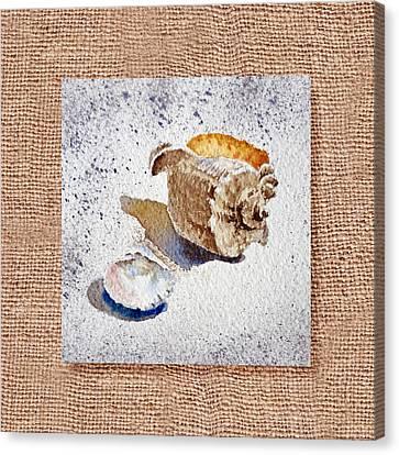 She Sells Sea Shells Decorative Collage Canvas Print by Irina Sztukowski