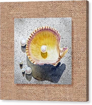 She Sells Seashells Decorative Collage Canvas Print by Irina Sztukowski