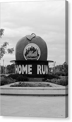 Shea Stadium Home Run Apple In Black And White Canvas Print by Rob Hans