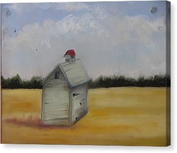 Shed On Yellow Field Canvas Print by Iris Nazario Dziadul