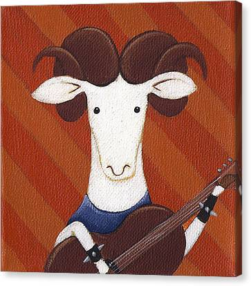 Sheep Guitar Canvas Print by Christy Beckwith