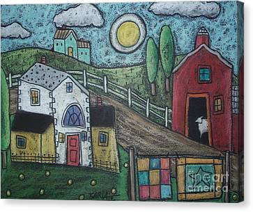 Sheep In Barn Canvas Print by Karla Gerard
