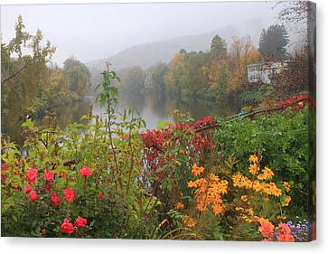 Shelburne Falls Bridge Of Flowers Autumn Mist Canvas Print by John Burk