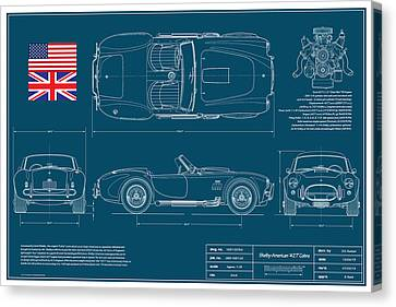 Shelby American 427 Cobra Blueplanprint Canvas Print by Douglas Switzer