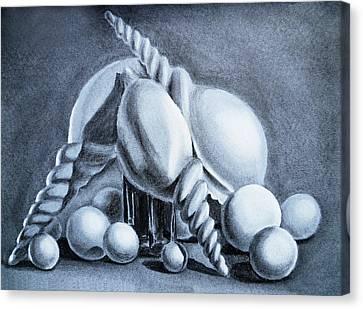 Shells Shells And Balls Still Life Canvas Print by Irina Sztukowski