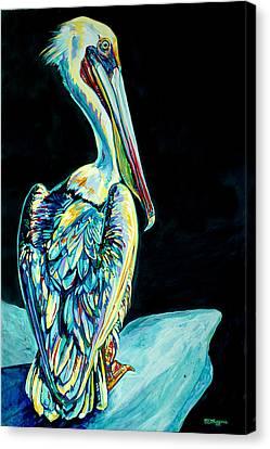 Shelter Island Pelican Canvas Print by Derrick Higgins